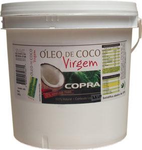 Óleo de coco: sai mais barato comprar o balde logo de uma vez. Para uso culinário, pode ser o virgem. E isto não é uma propaganda.